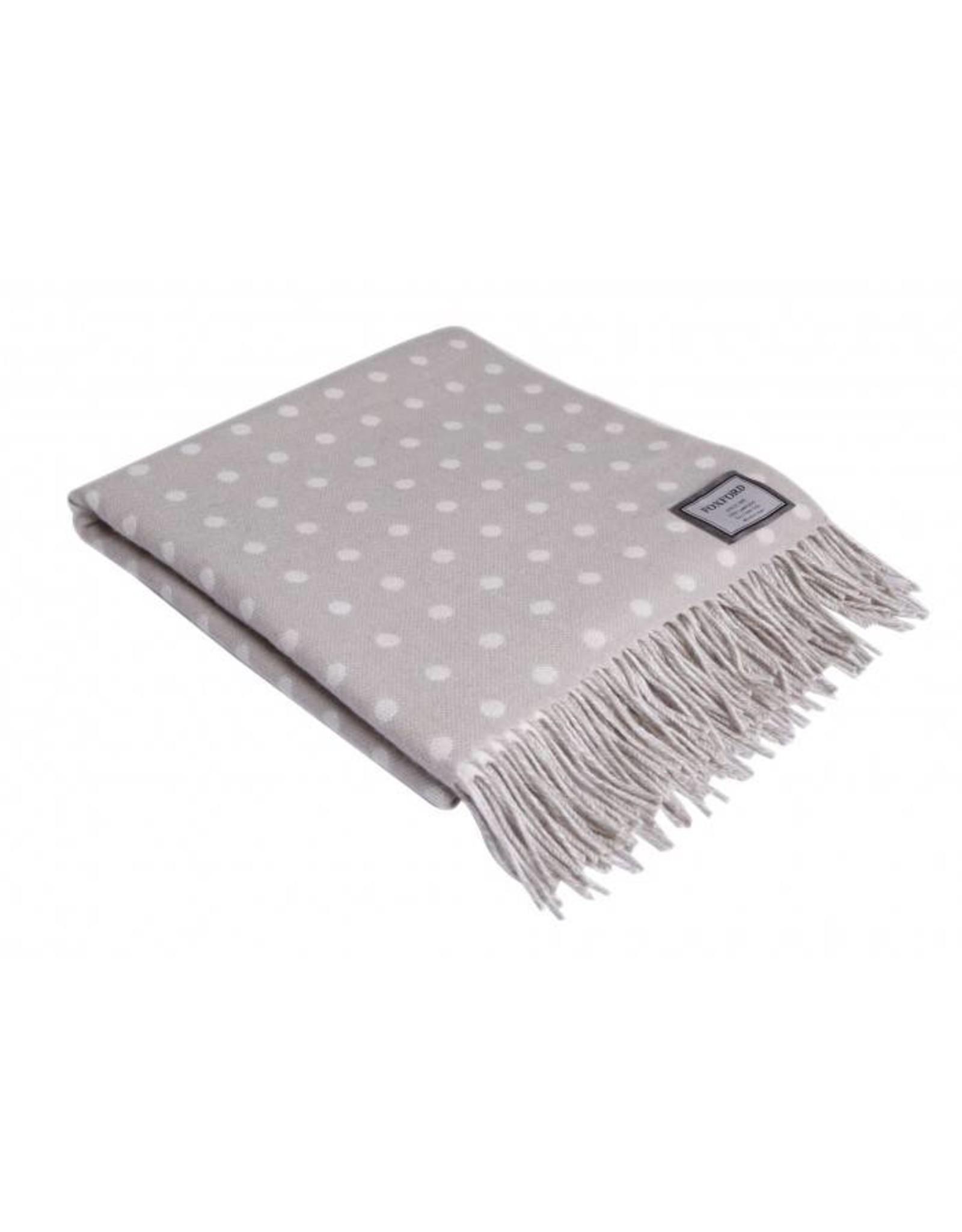 Foxford Lambswool Cream/Tan Polka Dot Throw Blanket