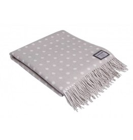 Foxford Lambswool Cream/Tan Polka Dot Throw Blanket