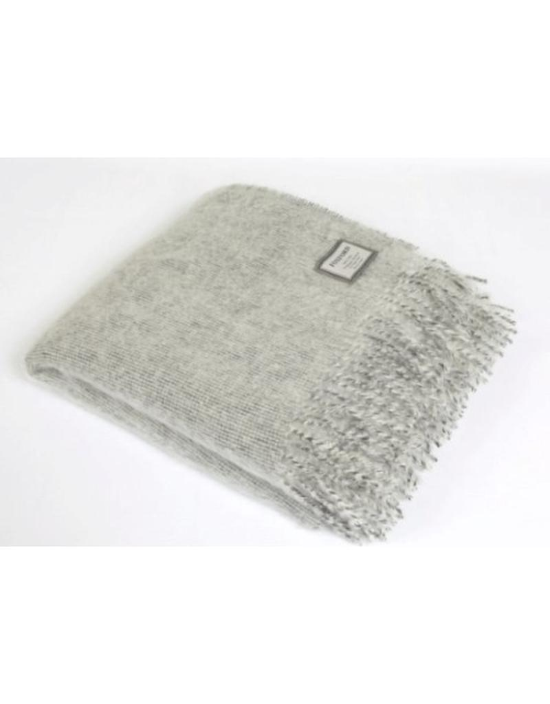 Light Grey Mohair Throw Blanket