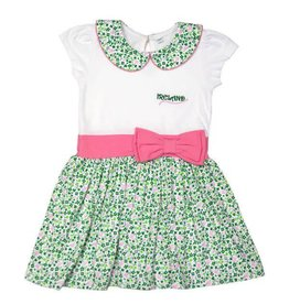 Traditional Craftwear White+Green+Pink Kids Dress