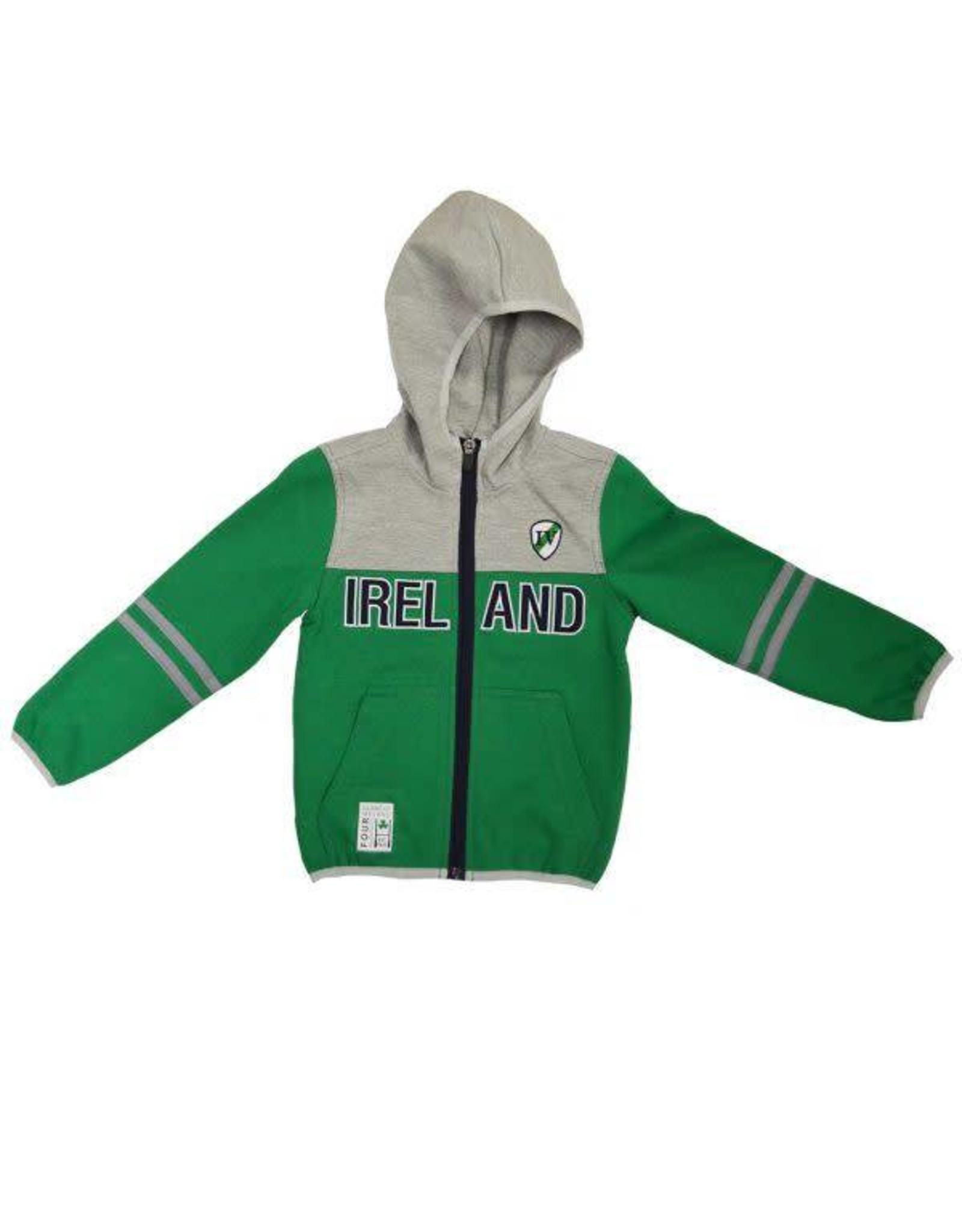 Lansdowne Green+Grey Kids Full Zip Ireland Hoodie