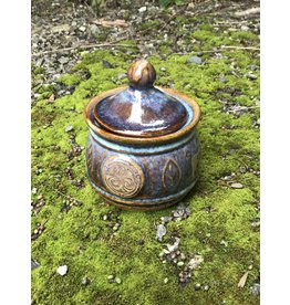 Colm de Ris Pottery Colm Irish Pottery Blue Leaf Sugar Bowl