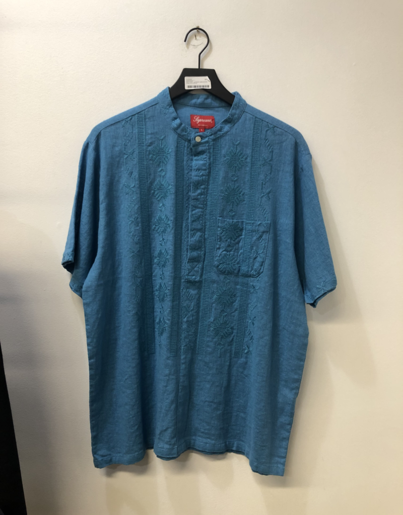 CLOTHES SUPREME EMBROIDERED BAND COLLAR BLUE