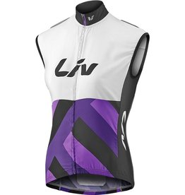 Liv Liv Race Day Windbreaker Vest White//Purple Lg