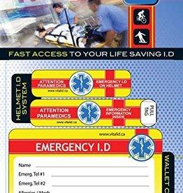 Vital ID Emergency Helmet and Wallet ID System