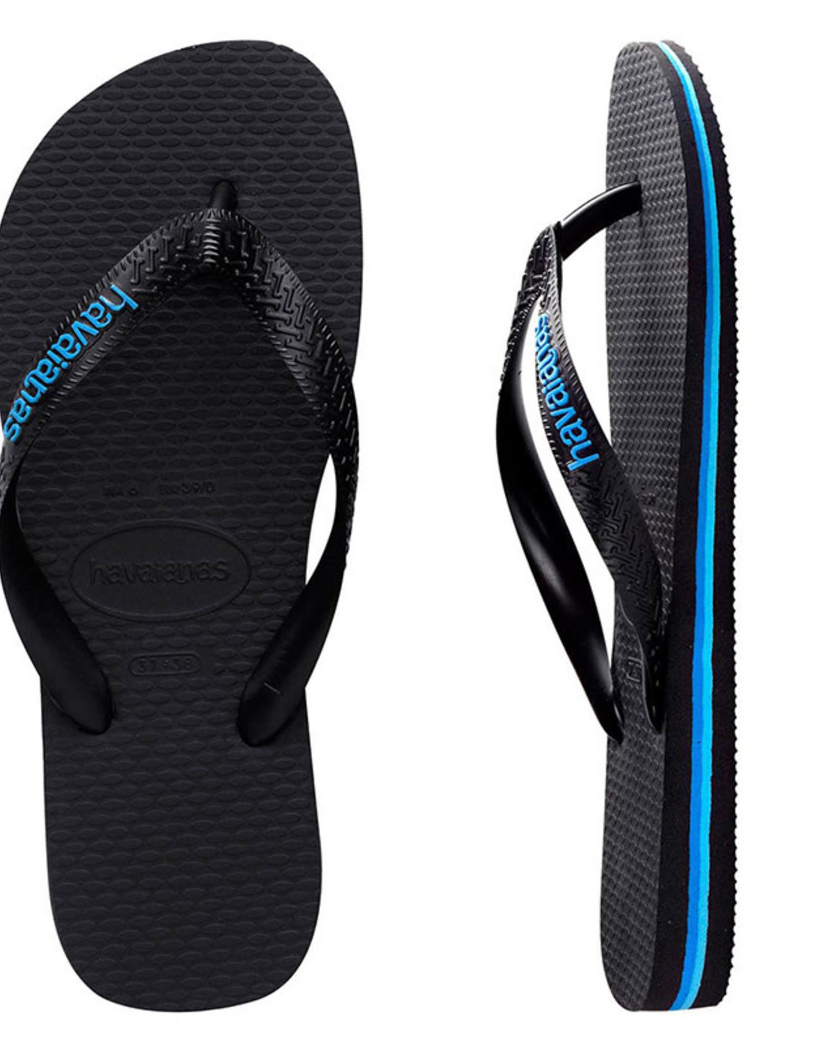 HAVAIANAS Rubber Logo Black/Blue Thongs