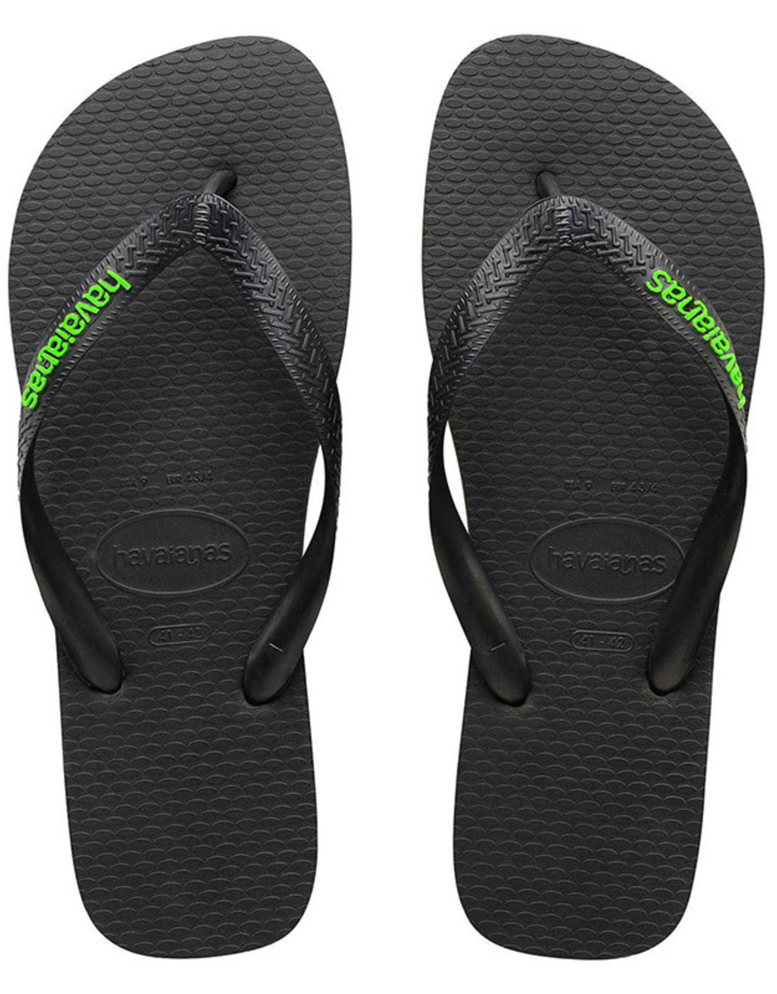 HAVAIANAS Rubber Logo Black/Neon Green Thongs