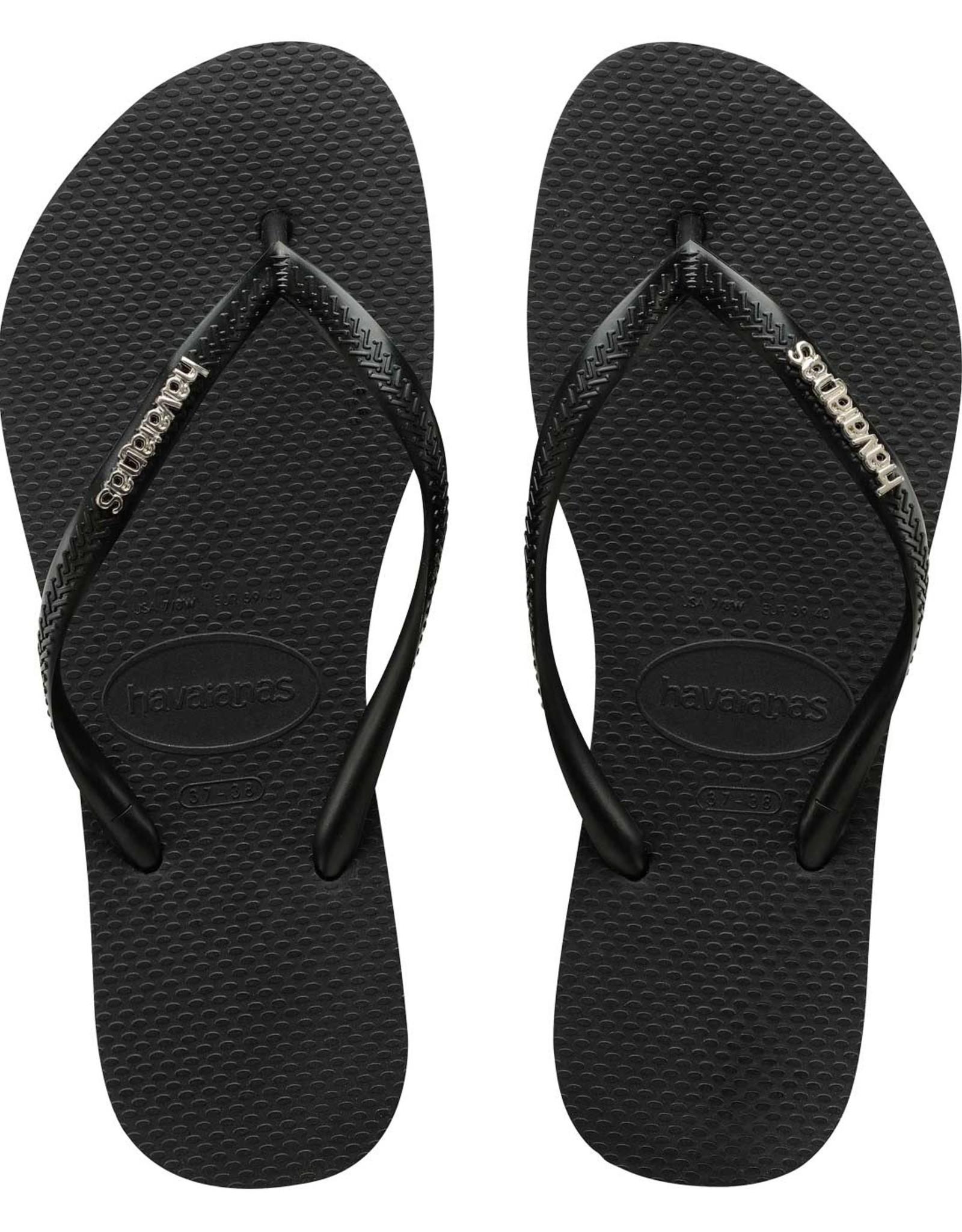 HAVAIANAS Slim Metal Logo Black/Silver Thongs