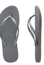 HAVAIANAS Kids Slim Metallic Steel Grey Thongs