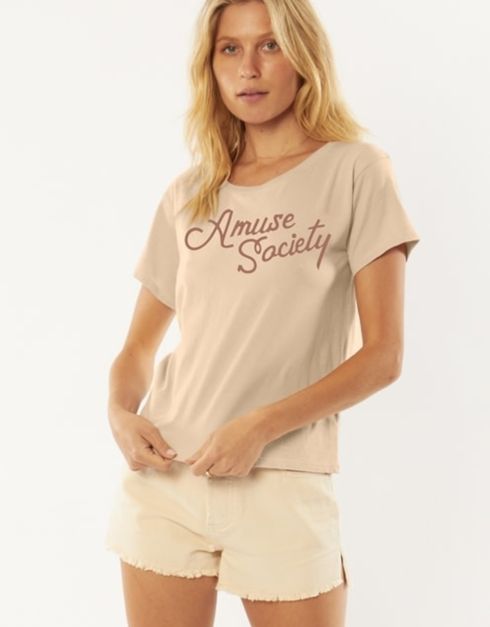 AMUSE SOCIETY Branded S/S Knit Fitted Tee