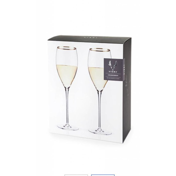 Belmont Gold Rimmed Crystal White set/2