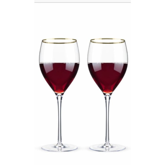 Belmont Gold Rimmed Crystal Red Set of 2