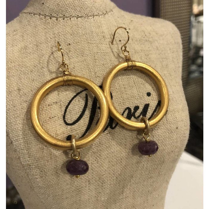 Large Hoop Earring Gold & Amethyst