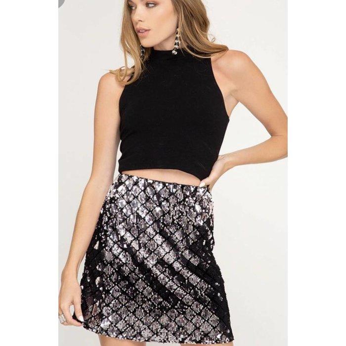 Sequin Checker Mini Skirt