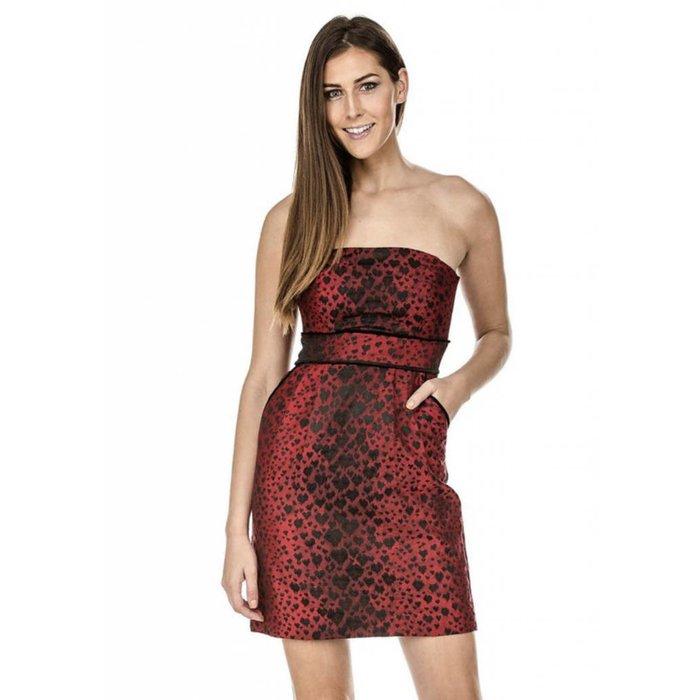 Red Brocade Strapless Dress