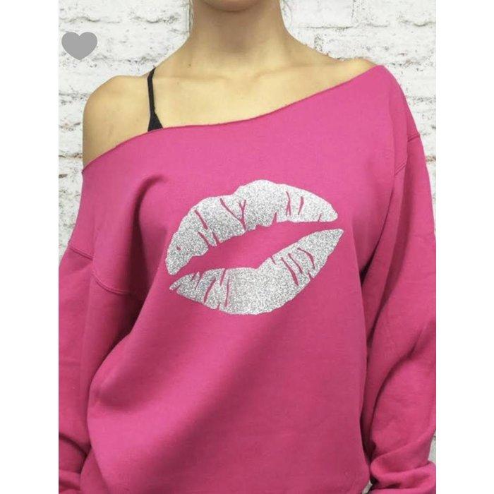 Hot Pink Off Shoulder Lips