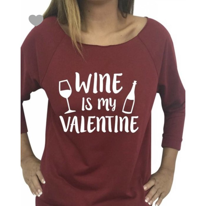 Wine is My Valentine  Off Shoulder Sweatshirt