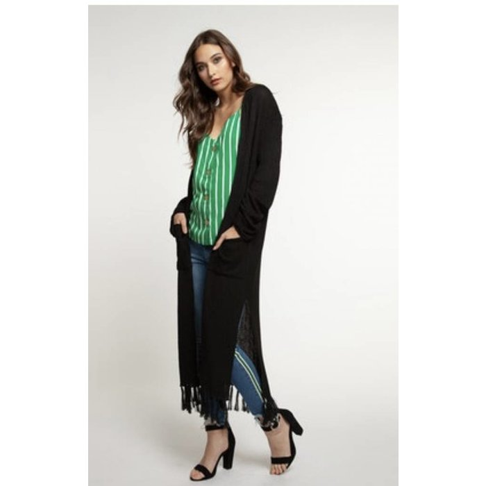 Long Fringed Cardigan w Pockets
