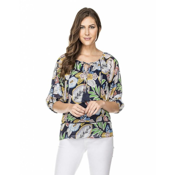 Multi Floral Trim Blouse