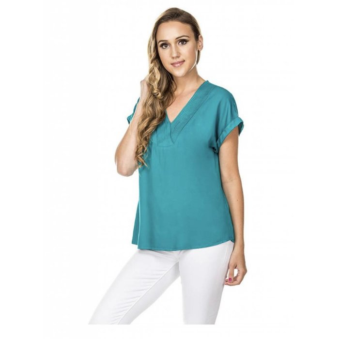 V Neck Button Top