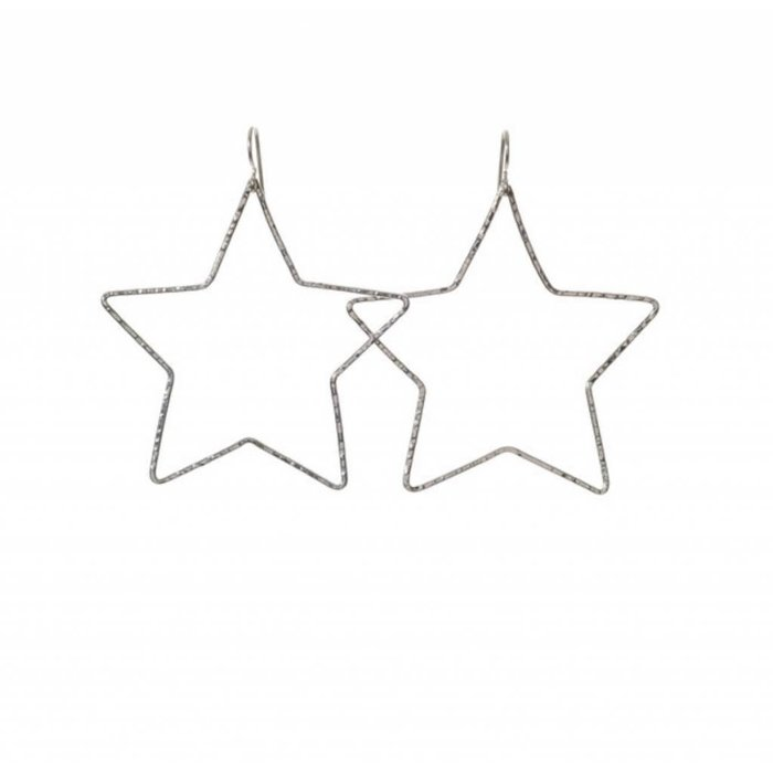 Large Star Hoops Silver