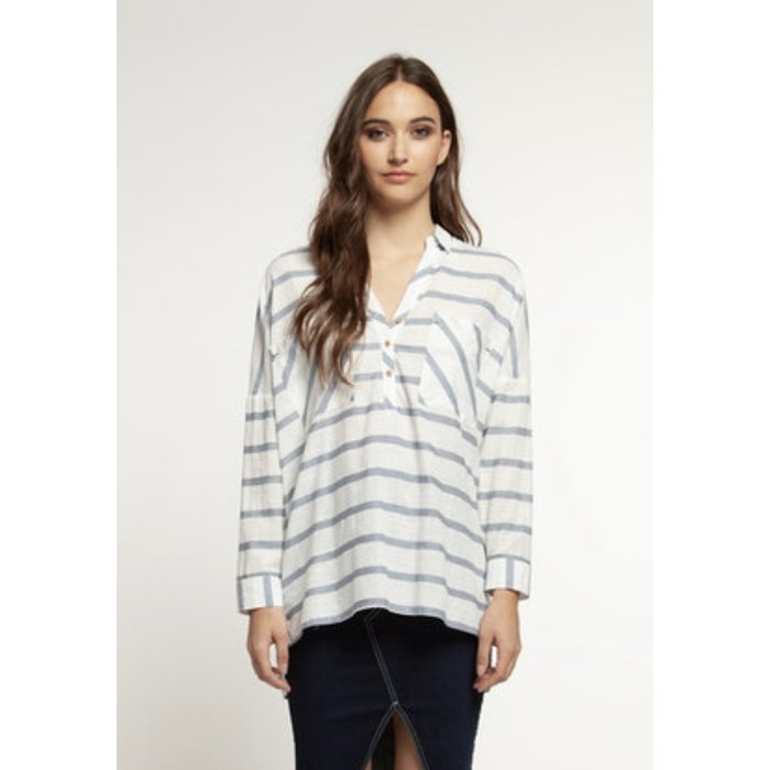 LS Stripe Pull Over Blouse