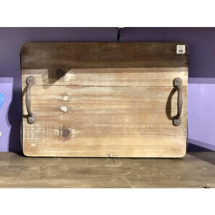 Wooden Tray with Cast Iron Handles--