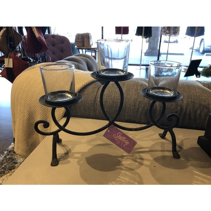 Iron 3 Candle Holder w Glass Cups