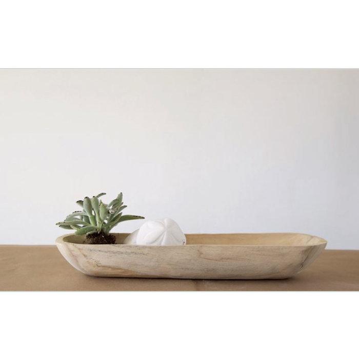 "Decorative Paulwnia Wood Bowl 22 3/4""x6"""