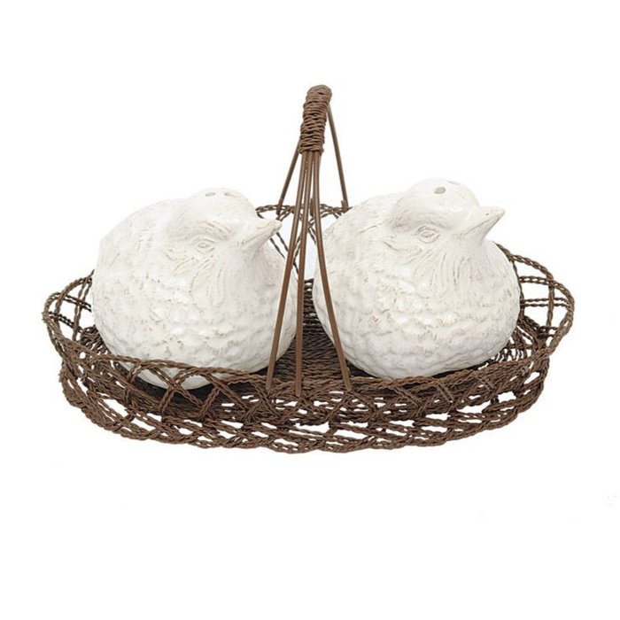 Ceramic Bird Salt & Pepper Set in Basket