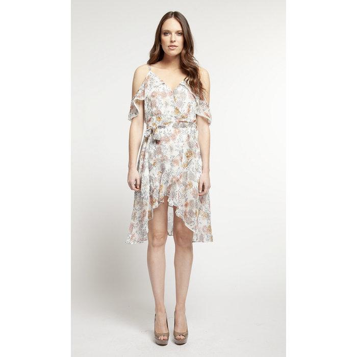 Asymetric Print Wrap Dress