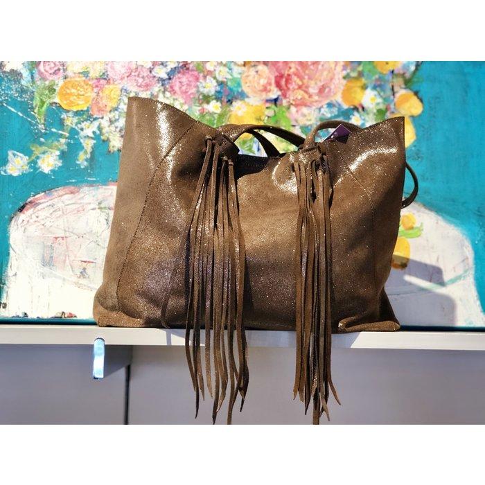 Metallic Leather Hobo Fringe Bag--
