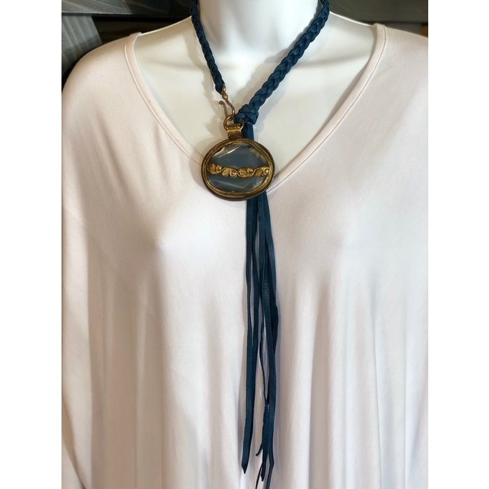 Grey Blue Agate Leather Necklace