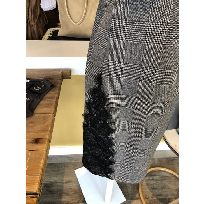 Dex Black Tape Dress w Lace Trim