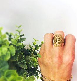 Brass Seed of Life Ring