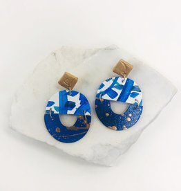 Audra Style Blue/White Chloe Drop Earrings