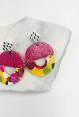 Audra Style Pink/Yellow Floral Chloe Drop Earrings
