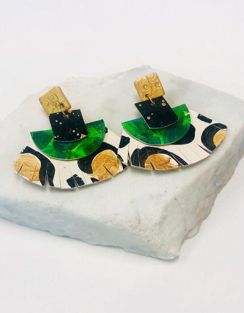 Audra Style Leopard & Green Fan Earrings