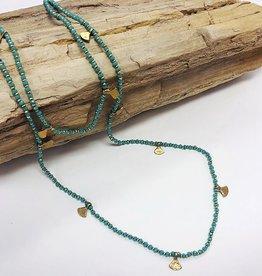 Long Beaded Necklace w Fan Turquoise