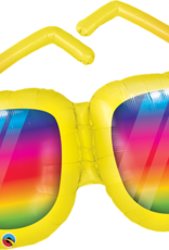 Rainbow Striped Sunglasses Foil Balloon - 36""