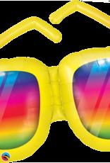 "Rainbow Striped Sunglasses Foil Balloon - 36"""