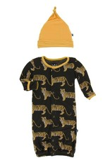 Kickee Pants Tiger Print Converter Gown & Hat