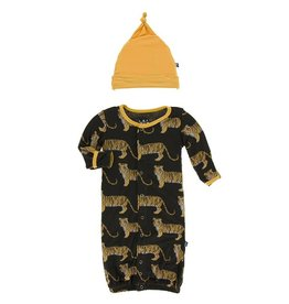 Kickee Pants Tiger Print Converter Gown and Knot Hat