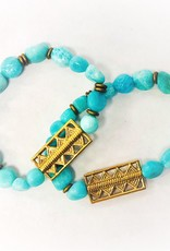 Amzaonite Bead Bracelet with Brass Pendant