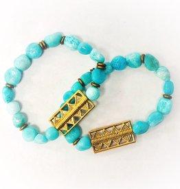 Amzaonite Bead Bracelet with Brass Pendant