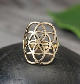 Brass Double Layer Seed Of Life Ring