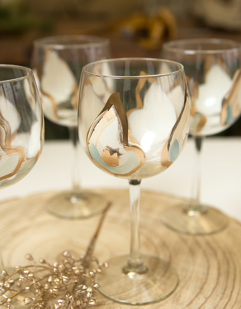 Hand-painted Wine Glass Mini Oysters - Gold