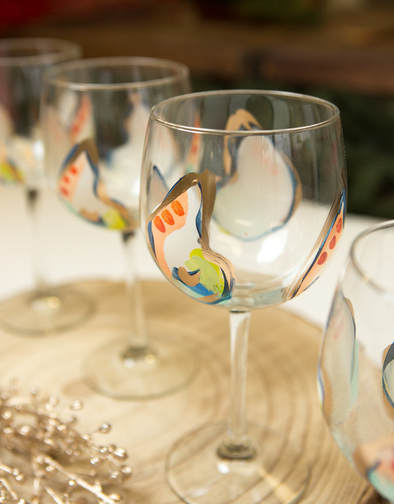 Hand-painted Wine Glass Mini Oysters - Jazzy
