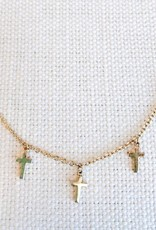 "Dangle Cross Necklace - 16"" + Extender"