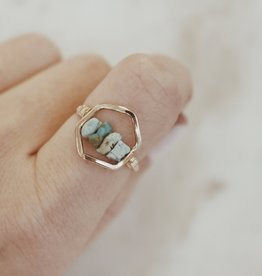 Hexagon Turquoise Ring Size 7